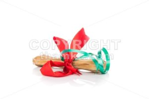Dog bone Christmas gift wrapped with green and red ribbon - ThamKC Royalty-Free Photos