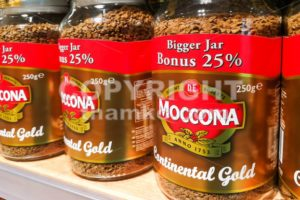 KUALA LUMPUR, Malaysia, June 25, 2017: Moccona is a brand of coffee produced by the Dutch corporation Douwe Egberts.  Currently known as JACOBS DOUWE EGBERTS (JDE) - ThamKC Royalty-Free Photos