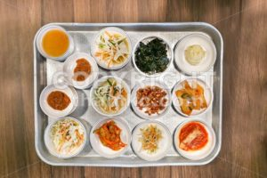 Korean meal side dishes vegetable, kinchi, groundnuts, garlic, bean sprout - ThamKC Royalty-Free Photos