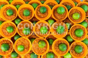 Spicy chili sambal belacan with calamansi lime in mini saucer - ThamKC Royalty-Free Photos