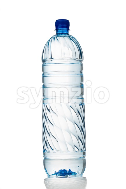 Single refreshing natural mineral water in plastic bottle in vertical orientation