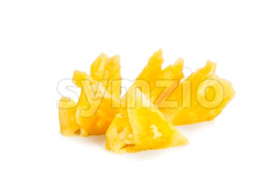 Freshly cut juicy, sweet nutritious pineapple fruit isolated in white. Stock Photo