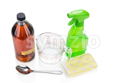 Apple cider vinegar, effective natural solution for house cleaning, personal and pets care. Stock Photo