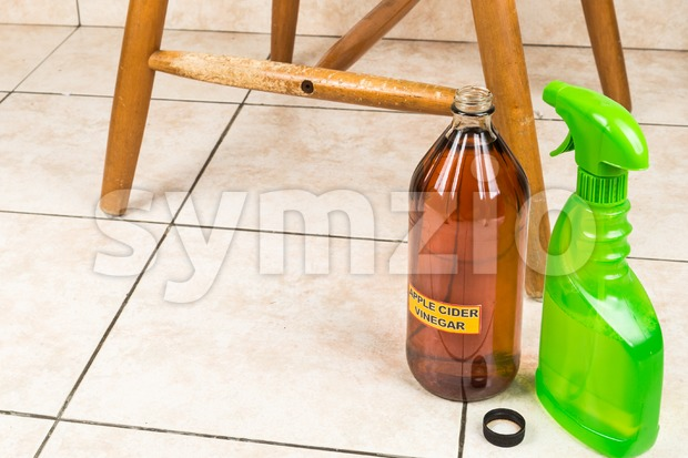 Apple cider vinegar discourage dogs and cats from chewing on furniture. Stock Photo