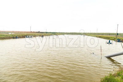 Serene view of aquaculture fish and prawn farm Stock Photo