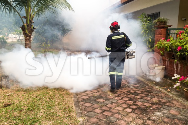 Worker fogging residential area with insecticides to kill aedes mosquito, carrier of dengue virus. Stock Photo