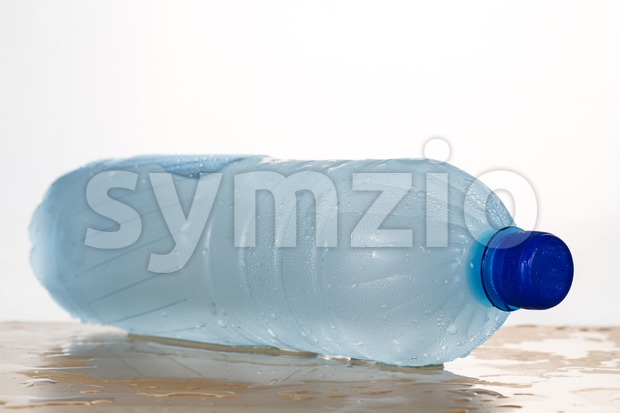 Freezing water in PET plastic bottle deemed an unhealthy practice Stock Photo