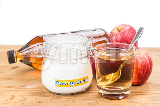 Apple cider vinegar and baking soda combination for acid reflux condition. Stock Photo