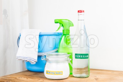 Baking soda with vinegar, natural mix for effective house cleaning. Stock Photo