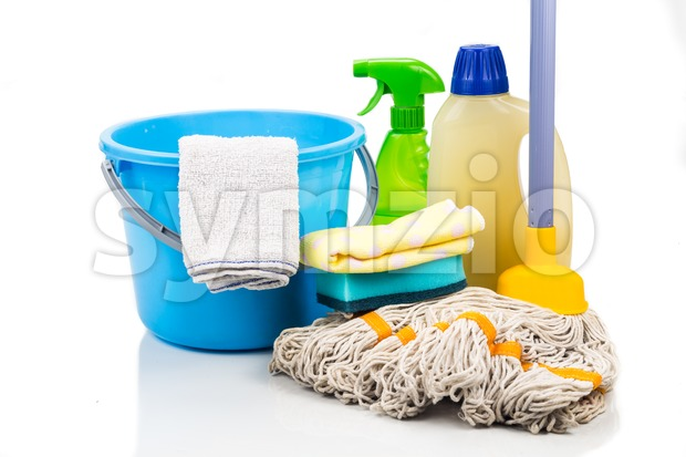 Home cleaning tool set of detergent, mop, sponge, spray, towel and pail