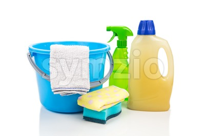 Home cleaning tool set of detergent, sponge, spray, towel and pail. Stock Photo