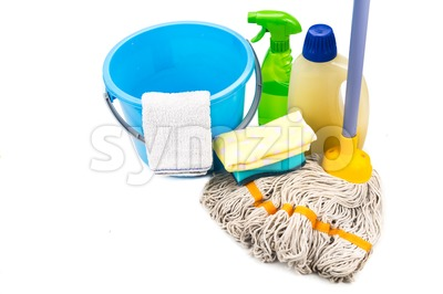 Home cleaning tool set of detergent, mop, sponge, spray, towel and pail. Stock Photo