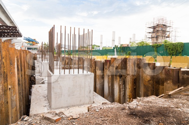 Foundation for an infrastructure pillar column at a construction site Stock Photo