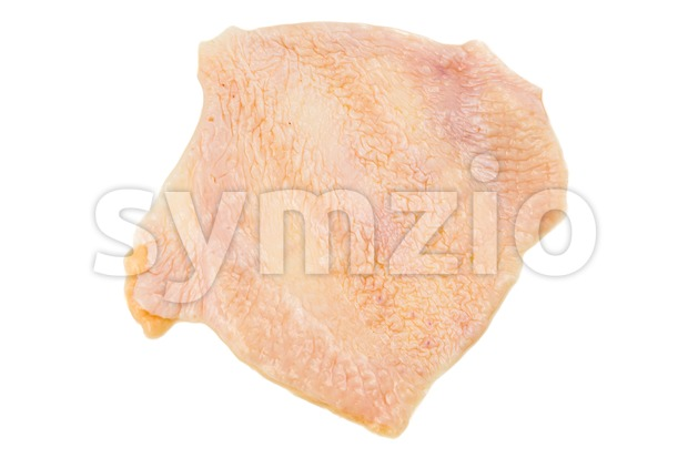 Saggy chicken skin removed from breast meat Stock Photo