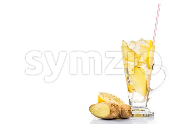 Refreshing ice cold ginger tea in transparent glass Stock Photo