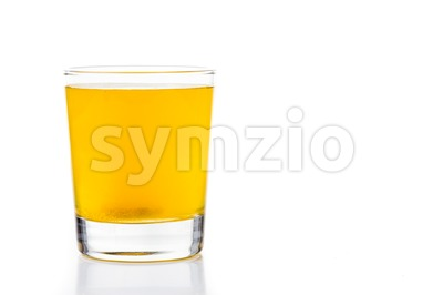Series of effervescent vitamin C tablet dropped and bubbles in glass of water Stock Photo