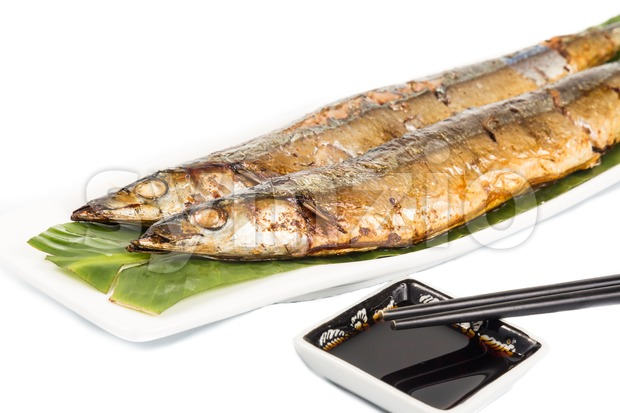 Grilled Japanese Sanma Fish, a season delicacy Stock Photo