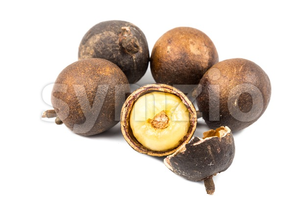 Brazilian longan fruit with thick flesh. Also known as Fijian Longan Stock Photo