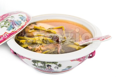 Casserole of refreshing Chinese watercress soup isolated in white Image ID:284090516 Stock Photo