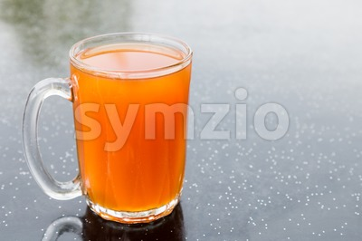 Freshly brewed black tea in glass mug, popularly known as Teh O in Malaysia Stock Photo