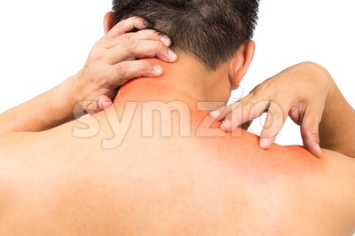 Matured man with intense neck and shoulder pain Stock Photo