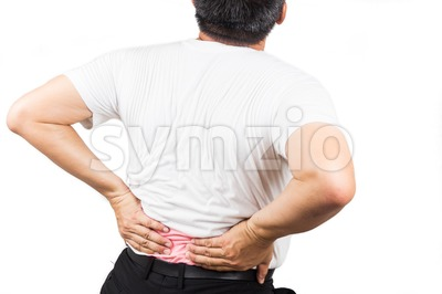 Man suffering from lower back pain Stock Photo