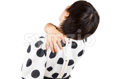 Woman suffering from neck and shoulder pain Stock Photo