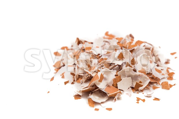 Crushed egg shell on white background Stock Photo