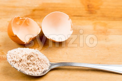 Home-made calcium supplement from grounded egg shells Stock Photo