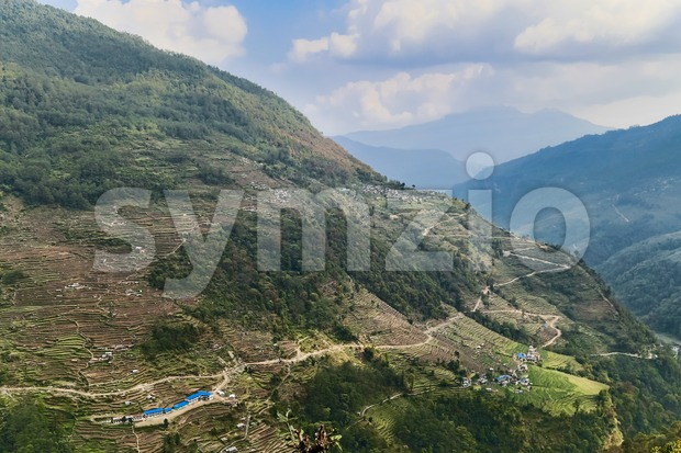 Ariel view of terraced plantation on hill slopes in Nepal Stock Photo