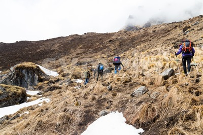 Group of people trekking an ascending hill with snow and dried grass in Nepal Stock Photo