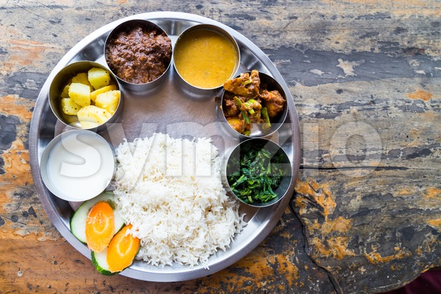 Delicious Nepali Thali meal set with mutton Stock Photo