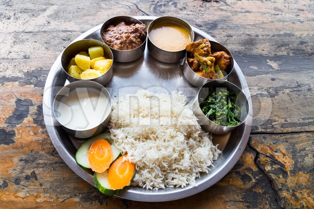 Delicious Nepali Thali meal set with mutton
