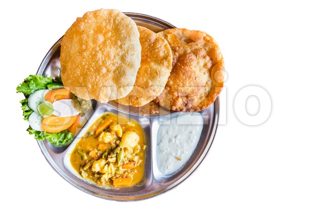 Nepali Puri meal set with dal and yogurt Stock Photo