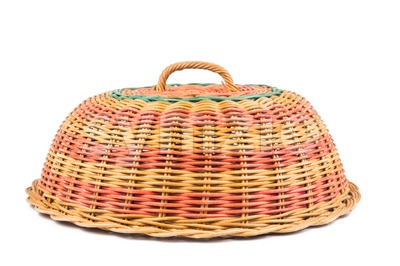 Colorful traditional rattan woven food cover Stock Photo