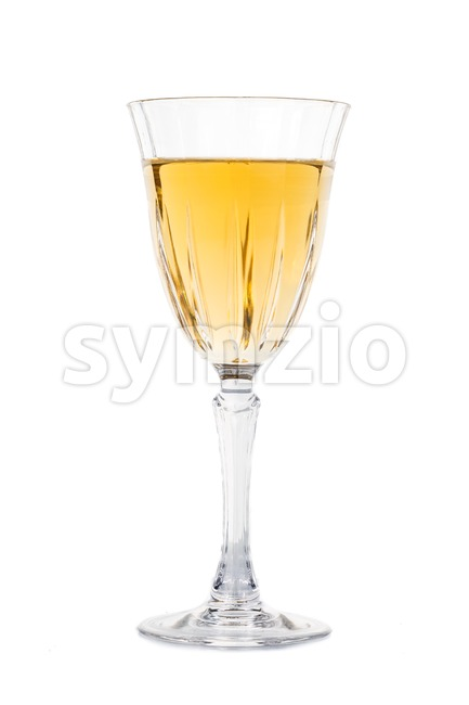 White wine in luxury crystal glass isolated in white