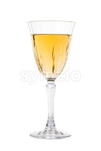 White wine in luxury crystal glass isolated in white Stock Photo