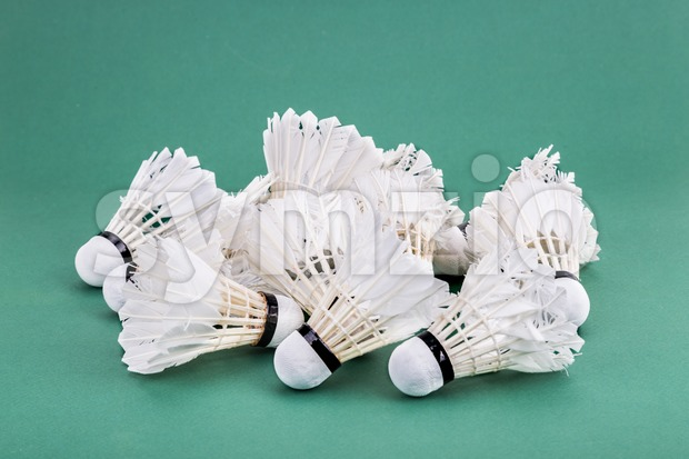 Heaps of used and worned out badminton shuttlecock on green mat PVC court