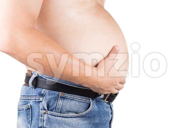 Obese man with unhealthy protruding big belly