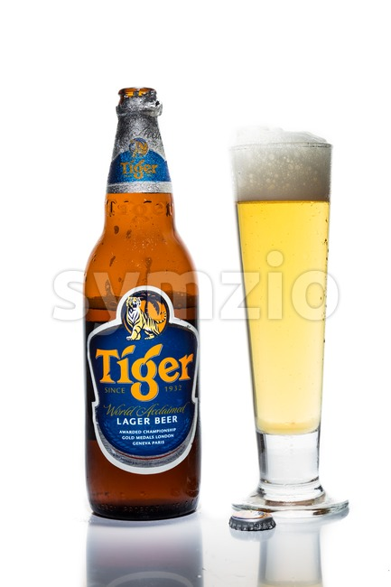 SINGAPORE, February 24, 2016: Tiger Beer is the market leader in the Singapore beer market. Tiger Beer is a brand of Asia Pacific Breweries Ltd, Stock Photo