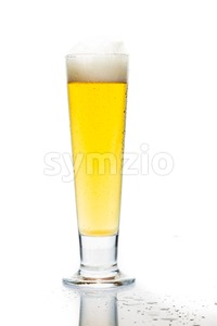 Cold beer in tall glass with reflection and isolated in white Stock Photo