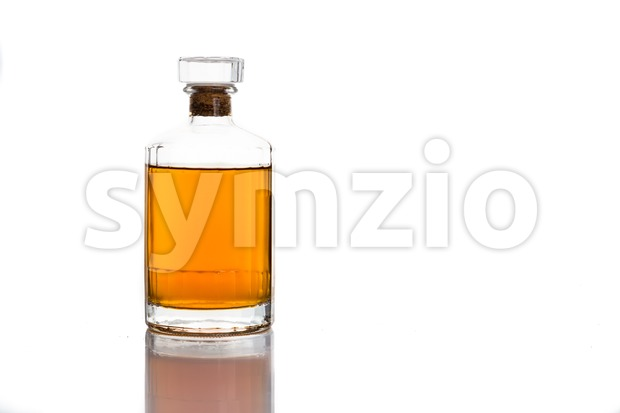 Single malt whiskey in bottle isolated in white Stock Photo