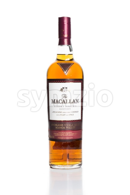 KUALA LUMPUR, February 24, 2016: Macallan is the leading single malt highland scotch whiskey brand in Malaysia. It is produced by The Macallan Stock Photo