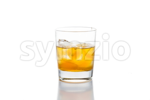Whiskey on the rocks, isolated in white Stock Photo