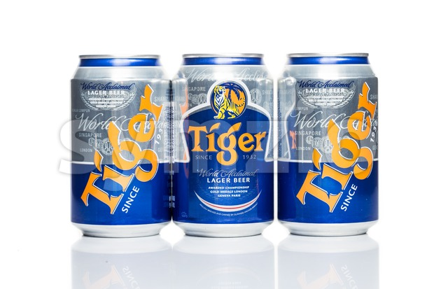 SINGAPORE, February 24, 2016: Tiger Beer is a brand of Asia Pacific Breweries Ltd, Singapore and is the best selling beer in Singapore Stock Photo