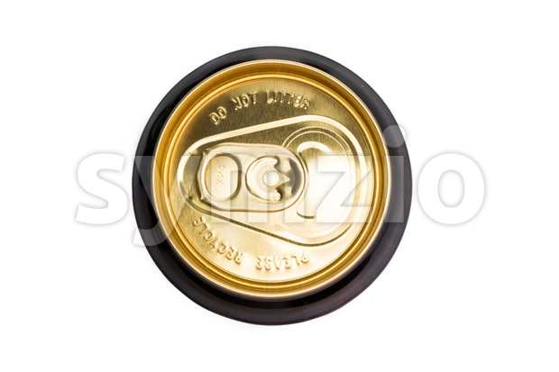 Top of a tin can with Please Recycle and Do Not Litter inscription Stock Photo