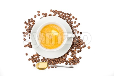 Coffee with added milk and butter, the new diet that favors high fats low carbo called ketogenic diet Stock Photo