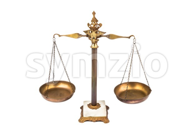 Balanced scale, a symbol of justice and fairness Stock Photo
