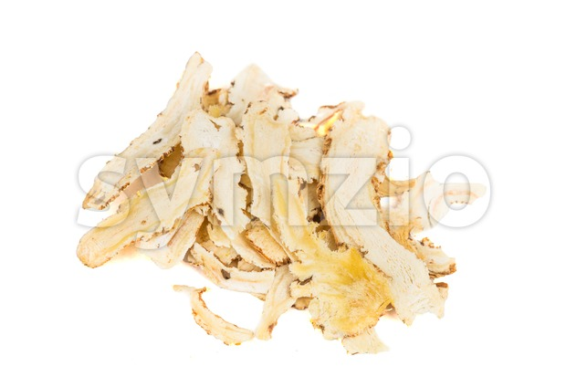 Sliced Angelica Sinensis or Dang Gui, potent Traditional Chinese Medicine herbs Stock Photo