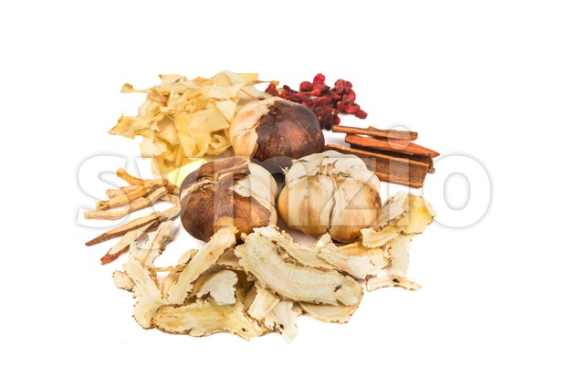 Herbal ingredients for Bak Kut Teh soup, a Malaysian delicacy Stock Photo